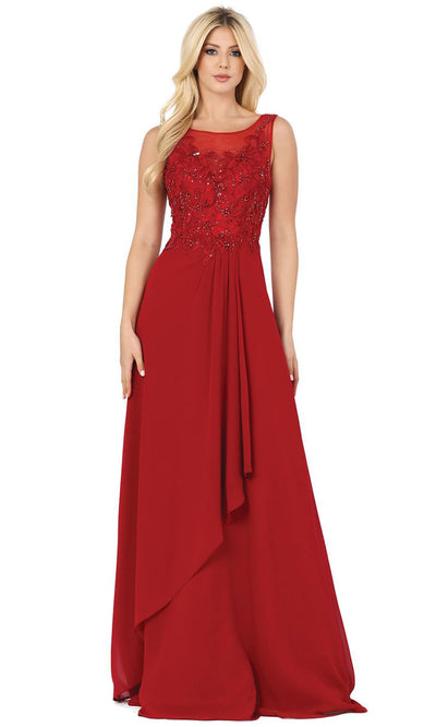 Dancing Queen - 2953 Embellished Bateau A-Line Dress In Red
