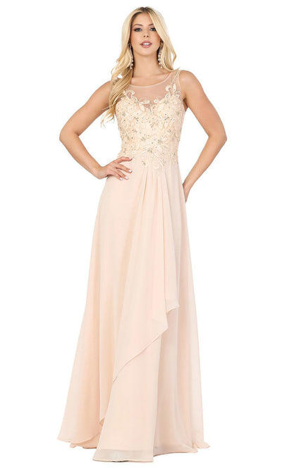 Dancing Queen - 2953 Embellished Bateau A-Line Dress In Neutral