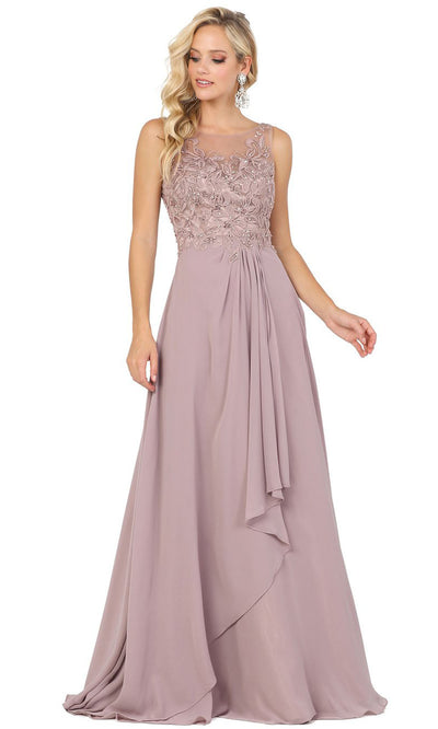 Dancing Queen - 2953 Embellished Bateau A-Line Dress In Brown