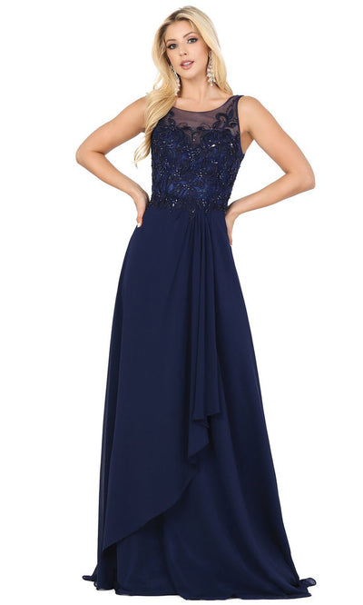 Dancing Queen - 2953 Embellished Bateau A-Line Dress In Blue