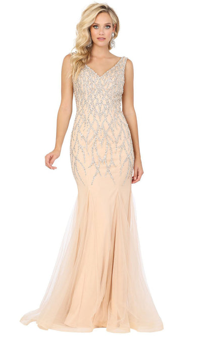 Dancing Queen - 2957 Beaded V-Neck Godet Mermaid Dress In Champagne & Gold