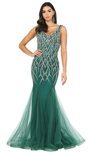 Dancing Queen - 2957 Beaded V-Neck Godet Mermaid Dress In Green
