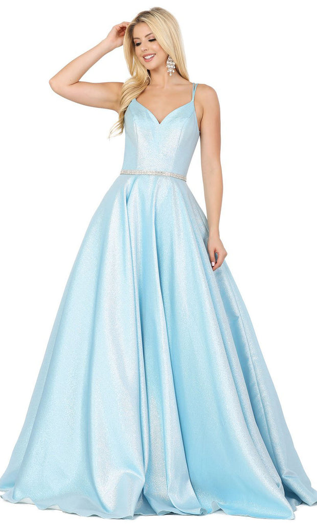 Dancing Queen - 2958 V Neck Minimalist Shiny Prom Dress In Blue