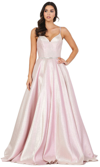Dancing Queen - 2958 V Neck Minimalist Shiny Prom Dress In Pink
