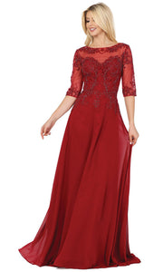 Dancing Queen - 2980 Embroidered Bateau Neck Gown In Red
