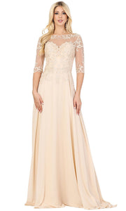 Dancing Queen - 2980 Embroidered Bateau Neck Gown In Neutral