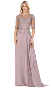 Dancing Queen - 2980 Embroidered Bateau Neck Gown In Brown