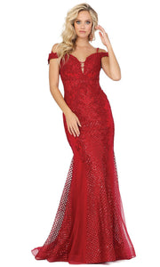 Dancing Queen - 2995 Embroidered Deep Off Shoulder Trumpet Dress In Red