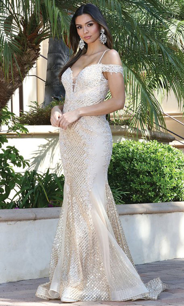 Dancing Queen - 2995 Embroidered Deep Off Shoulder Trumpet Dress In Neutral