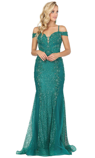 Dancing Queen - 2995 Embroidered Deep Off Shoulder Trumpet Dress In Green