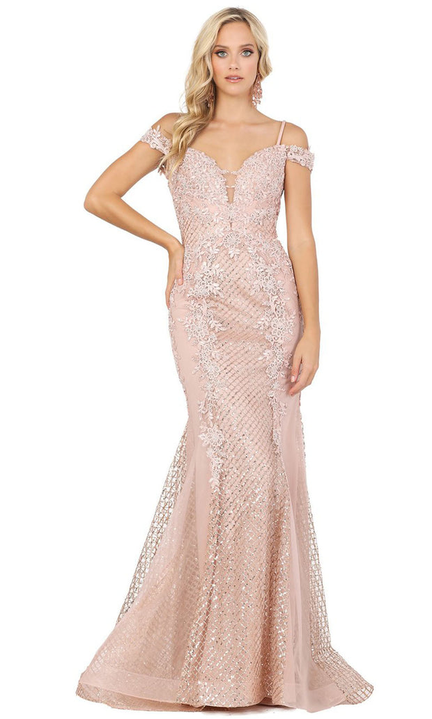 Dancing Queen - 2995 Embroidered Deep Off Shoulder Trumpet Dress In Pink