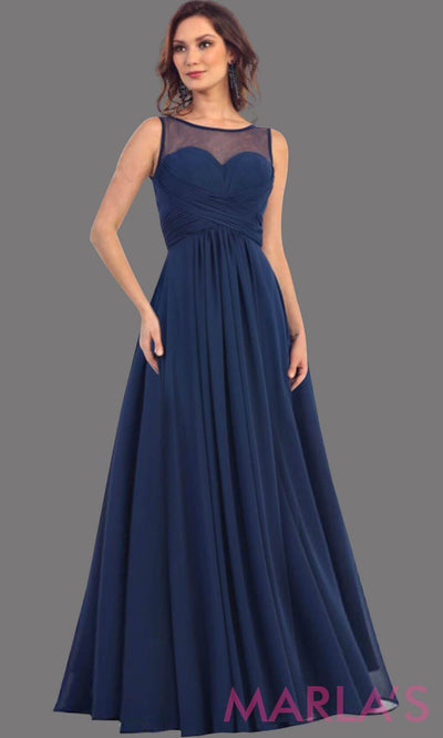Navy high neck dress with a flowy chiffon skirt. It has sheer mesh neckline with a corset back. It is perfect for prom, bridesmaid dress, and is available in plus size.