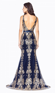 Cinderella Divine J786 long navy dress - back