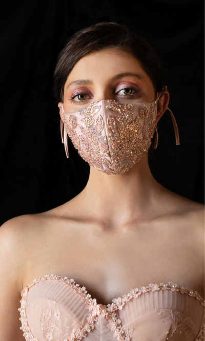 Blush Sequin Beaded Mask