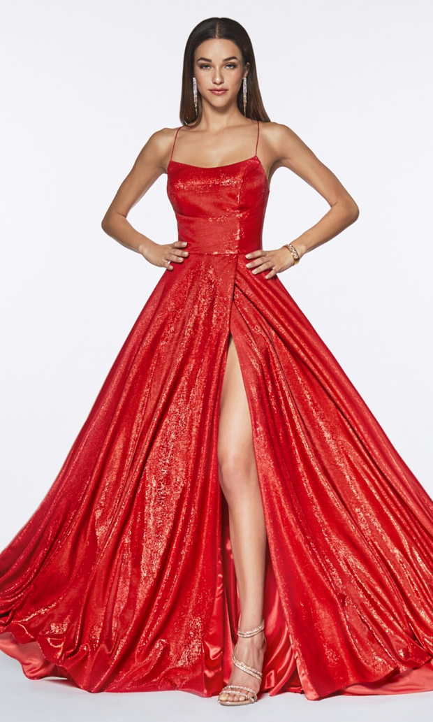 Cinderella Divine CJ525 long red high slit dress