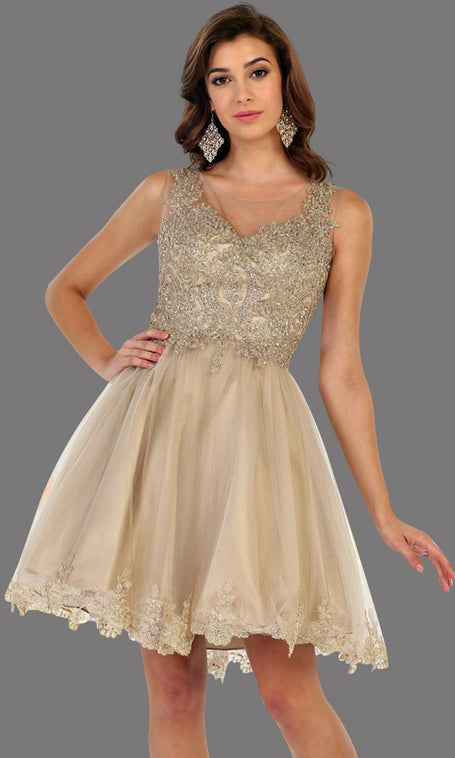 Short high neck champagn grade 8 grad puffy dress with gold lace. This light gold grade 8 graduation short dress is pretty. Can be worn for quinceanera damas, short prom dress, bah mitzvah, sweet 16, confirmation. Avail in plus size