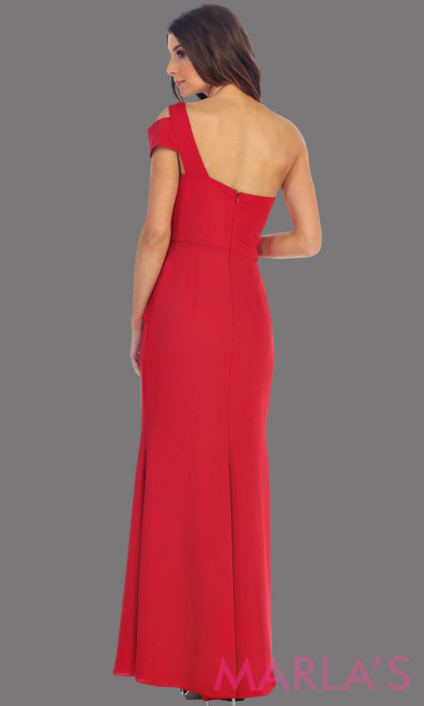 Back of long one shoulder red simple dress. Perfect red prom dress, simple and classy bridesmaid dress, elegant red wedding guest dress. Available in plus sizes.