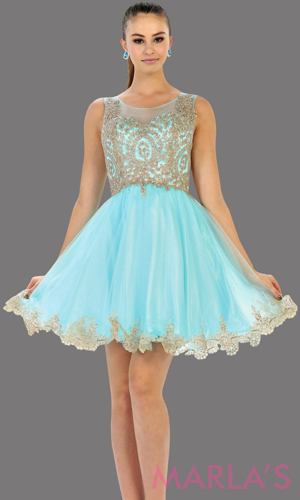Short High Neck Illusion Aqua Blue Dress with Embroidery ...
