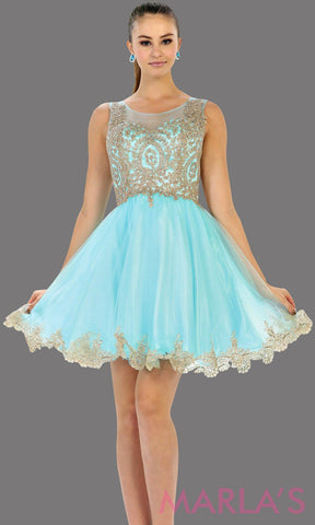 Short aqua high neck grade 8 grad puffy dress with gold lace. This light blue grade 8 graduation short dress and pretty. Can be worn for quinceanera damas, short prom dress, bah mitzvah, sweet 16, confirmation.  Avail in plus size