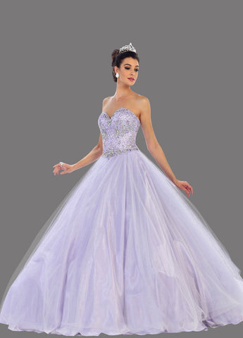 * Long Strapless Beaded Lilac Ball Gown