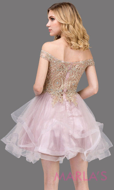 3000.4-B Off shoulder grade 8 grad dusty pink dress with puffy tulle skirt and gold lace.This short light pink homecoming,quinceanera damas,or bat mitzvah dress is perfect for your event.Plus Sizes avail.
