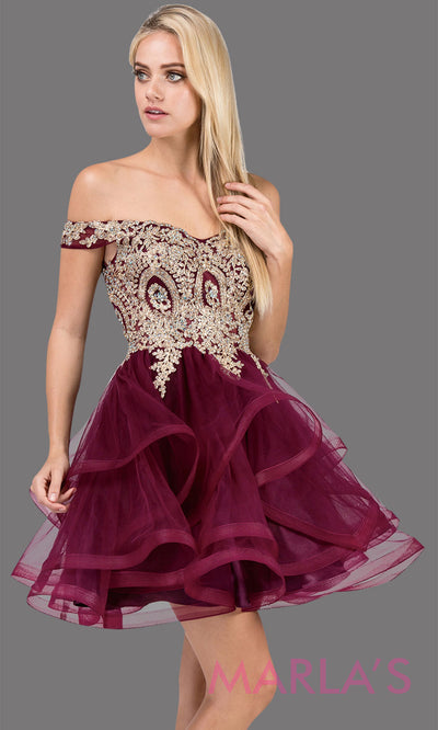 3000.4-Off shoulder grade 8 grad burgundy wine dress with puffy tulle skirt and gold lace.This short dark red homecoming, quinceanera damas,or bat mitzvah dress is perfect for your event. Plus Sizes avail.