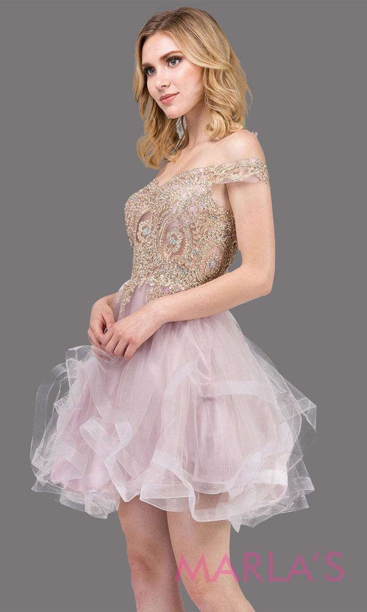 3000.4-Off shoulder grade 8 grad dusty pink dress with puffy tulle skirt and gold lace.This short light pink homecoming, quinceanera damas, or bat mitzvah dress is perfect for your event. Plus Sizes avail.