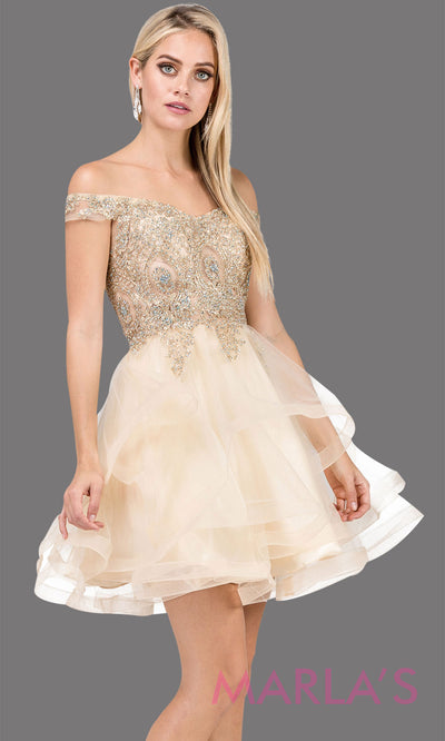 3000.4-Off shoulder grade 8 grad gold dress with puffy tulle skirt and gold lace. This short champagne homecoming, quinceanera damas, or bat mitzvah dress is perfect for your next event. Plus Sizes avail.
