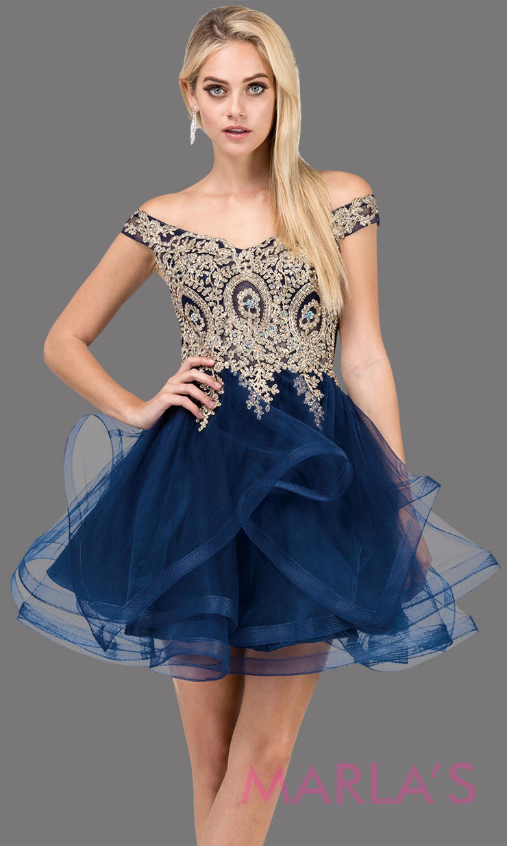 3000.4-Off shoulder grade 8 grad navy blue dress with puffy tulle skirt and gold lace.This short dark blue homecoming, quinceanera damas, or bat mitzvah dress is perfect for your event. Plus Sizes avail.