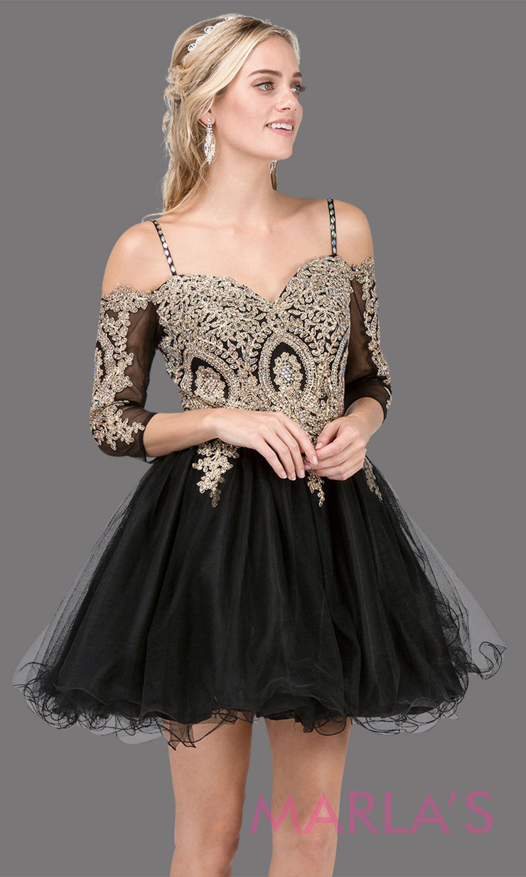 3001.4-Long sleeve off shoulder short black grade 8 graduation dress with puffy tulle skirt & gold lace. This black short dress is perfect for homecoming, quinceanera damas,or bat mitzvah.Plus Sizes avail.