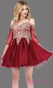 3001.4-Long sleeve off shoulder short burgundy grade 8 grad dress with puffy tulle skirt & gold lace.This short dark red dress is perfect for homecoming, quinceanera damas, or bat mitzvah.Plus Sizes avail.