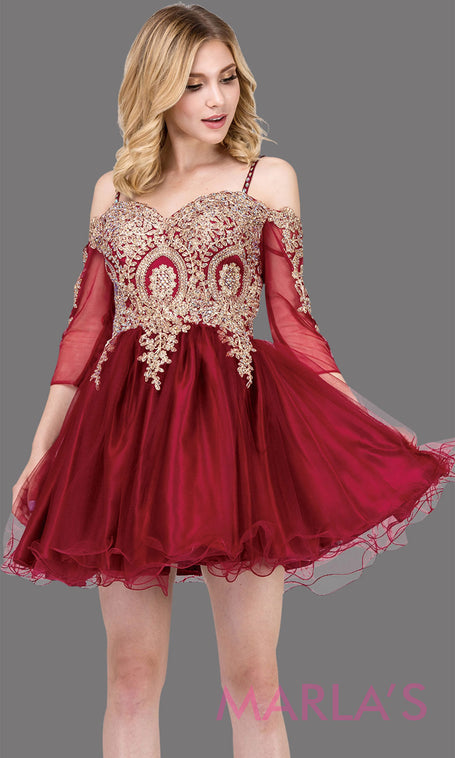 7e1df1f0e57 3001.4-Long sleeve off shoulder short burgundy grade 8 grad dress with  puffy tulle skirt