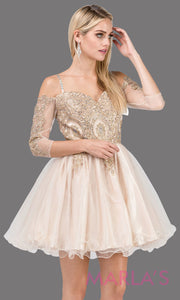3001.4-Long sleeve off shoulder short champagne grade 8 graduation dress with puffy tulle skirt &gold lace. This short gold dress is great for homecoming, quinceanera damas,or bat mitzvah.Plus Sizes avail.