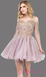 3001.4-Long sleeve off shoulder short dusty pink grade 8 graduation dress with puffy tulle skirt & gold lace. Short pink dress is great for homecoming, quinceanera damas,or bat mitzvah. Plus Sizes avail.
