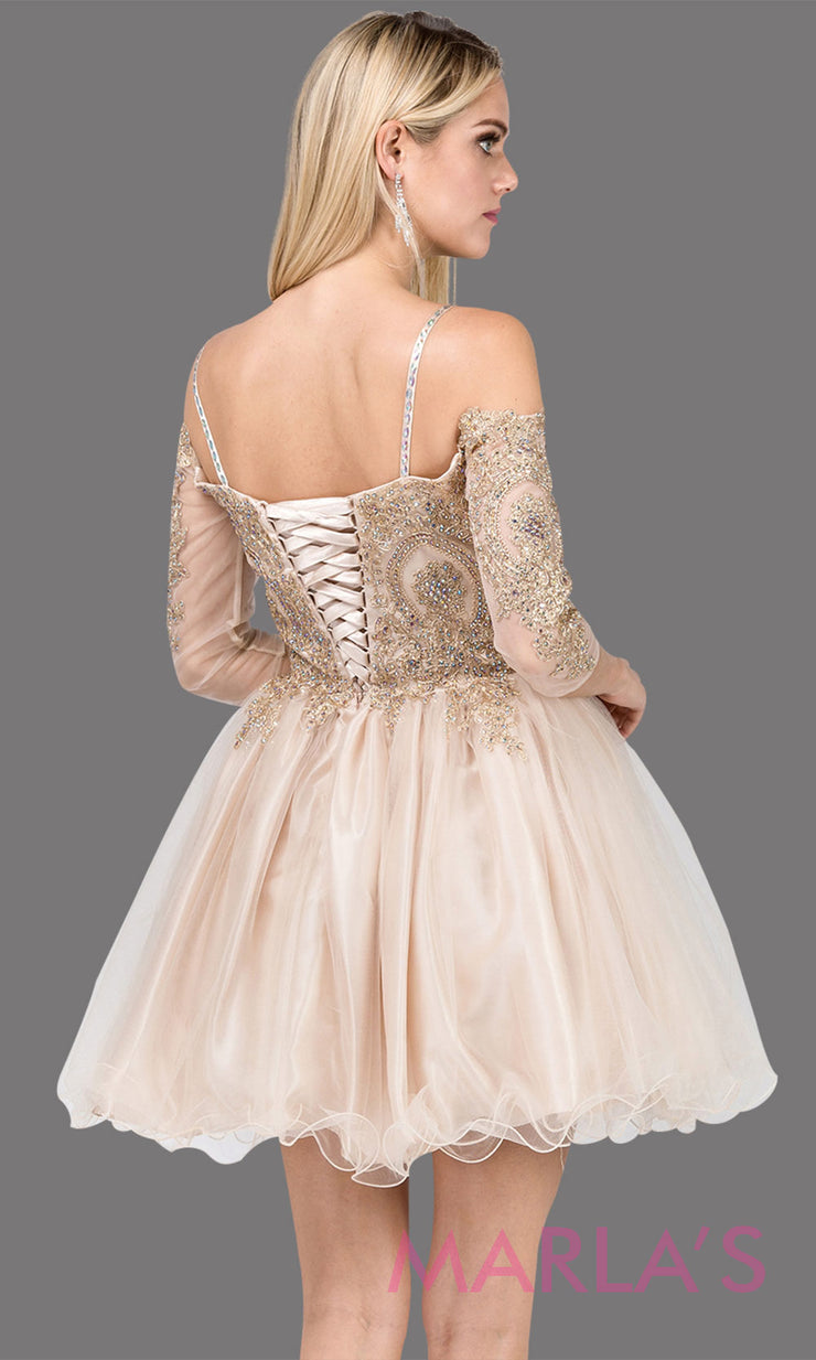 3001.4BLong sleeve off shoulder short champagne grade 8 graduation dress with puffy tulle skirt &gold lace. This short gold dress is great for homecoming, quinceanera damas,or bat mitzvah.Plus Sizes avail.