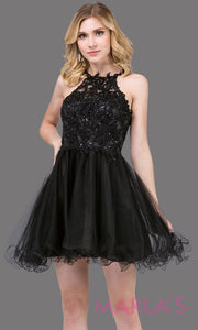 3004.4-Short high neck black grade 8 grad dress with puffy tulle skirt & lace top. This black graduation dress is great for confirmation, bat mitzvah, homecoming, quinceanera damas. Plus sizes available.