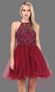 3004.4-Short high neck burgundy red grade 8 grad dress with puffy tulle skirt & lace top. Dark red graduation dress is great for confirmation, bat mitzvah, homecoming, quinceanera damas. Plus sizes avail.