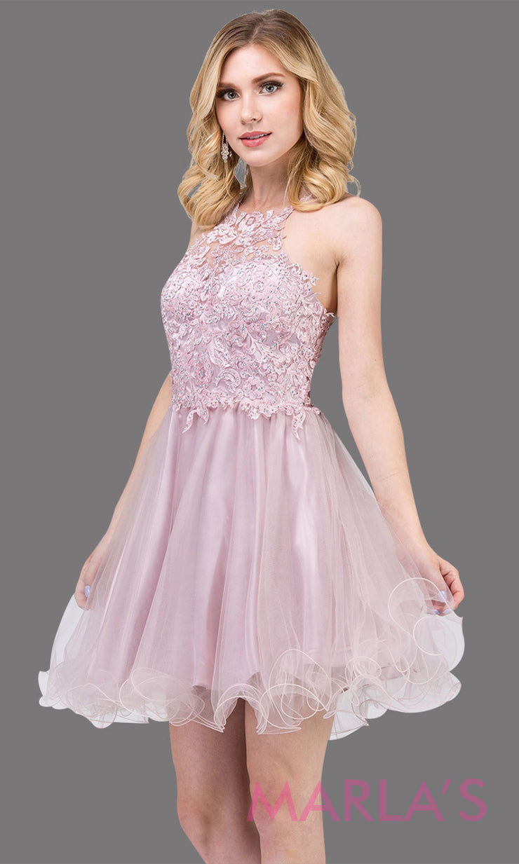 3004.4-Short high neck dusty pink grade 8 grad dress with puffy tulle skirt & lace top. light pink graduation dress is great for confirmation, bat mitzvah, homecoming, quinceanera damas. Plus sizes avail.