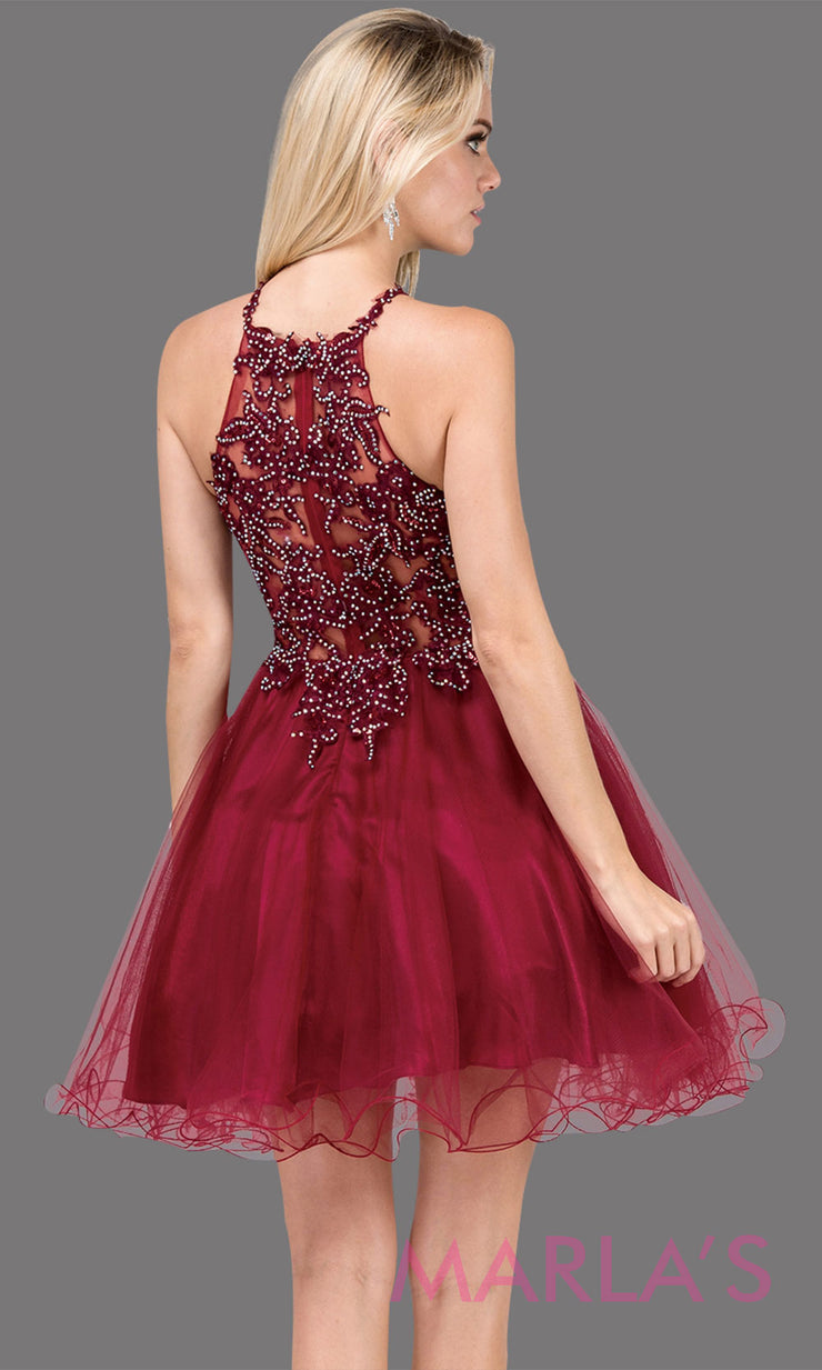 3004.4BShort high neck burgundy red grade 8 grad dress with puffy tulle skirt & lace top. Dark red graduation dress is great for confirmation, bat mitzvah, homecoming, quinceanera damas. Plus sizes avail.