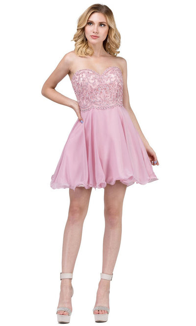 Dancing Queen - 3005 Strapless Appliqued Sweetheart Bodice Dress In Pink