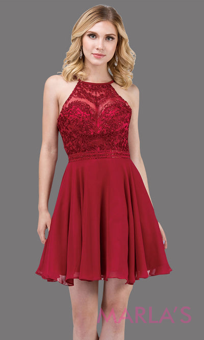 3008.4-Short high neck lace simple burgundy red grade 8 grad dress with flowy chiffon skirt. This dark red graduation dress is perfect for confirmation,bat mitzvah, homecoming,quinceanera damas. Plus Sizes