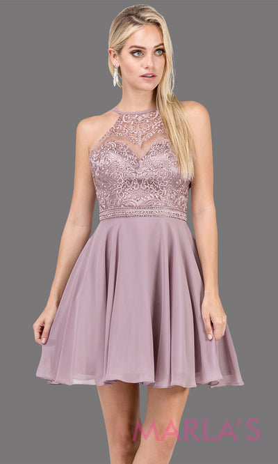 3008.4-Short high neck lace simple mocha grade 8 grad dress with flowy chiffon skirt. This taupe graduation dress is perfect for confirmation, bat mitzvah, homecoming, quinceanera damas. Plus Sizes