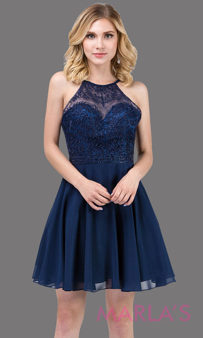3008.4-Short high neck lace simple navy blue grade 8 grad dress with flowy chiffon skirt. This dark blue graduation dress is perfect for confirmation, bat mitzvah, homecoming, quinceanera damas. Plus Sizes