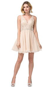 Dancing Queen - 3011 Sleeveless V-Neck A-Line Cocktail Dress In Champagne & Gold