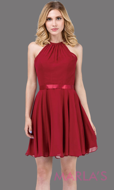 3013.4-Short high neck simple chiffo n burgundy grade 8 grad dress with satin ribbon.This dark red graduation dress is perfect for confirmation,bat mitzvah,junior bridesmaids, homecoming. Plus Sizes Avail.