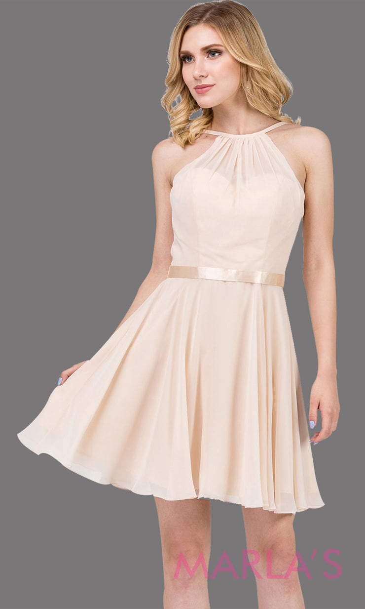 3013.4-Short high neck simple chiffon champagne grade 8 grad dress with satin ribbon.This gold graduation dress is perfect for confirmation,bat mitzvah,junior bridesmaids, homecoming. Plus Sizes Avail.