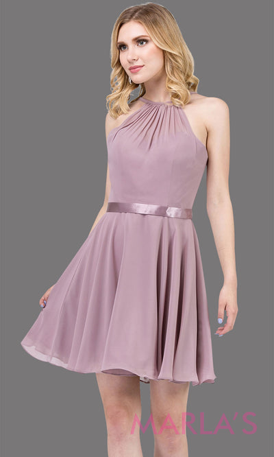 3013.4-Short high neck simple chiffon mocha grade 8 grad dress with satin ribbon.This mocha graduation dress is perfect for confirmation,bat mitzvah,junior bridesmaids, homecoming. Plus Sizes Avail.