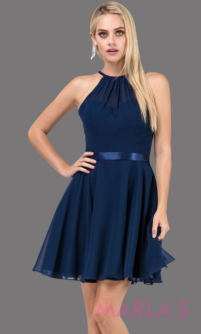 3013.4-Short high neck simple chiffon navy blue grade 8 grad dress with satin ribbon.This dark blue graduation dress is great for confirmation,bat mitzvah,junior bridesmaids, homecoming. Plus Sizes Avail.