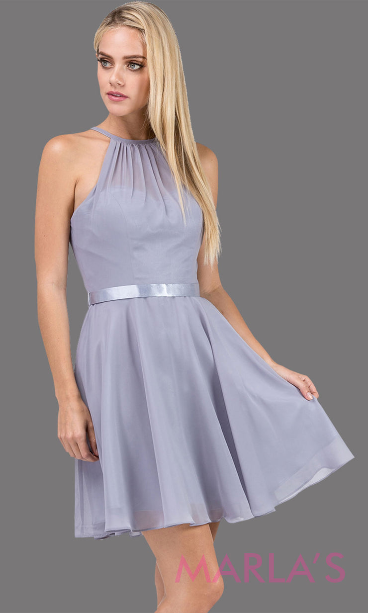 3013.4-Short high neck simple chiffon silver grade 8 grad dress with satin ribbon.This light gray graduation dress is perfect for confirmation,bat mitzvah,junior bridesmaids, homecoming. Plus Sizes Avail.