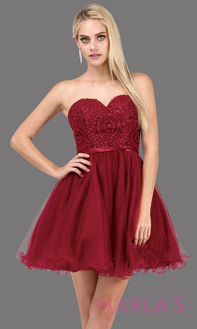 3014.4-Short strapless puffy grade 8 grad burgundy red dress with lace top & satin ribbon. This Dark red graduation dress is perfect for bat mitzvah, homecoming, quinceanera damas. Plus Sizes Available.